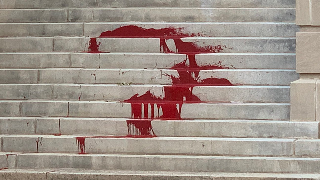 """Inaction is murder:"""" Chattanooga City Hall steps vandalized overnight  Tuesday 
